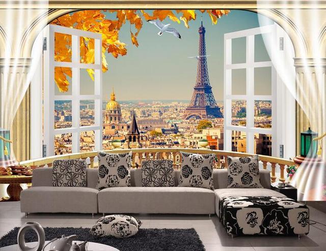 Buy 3d wallpaper custom mural non woven for Eiffel tower mural wallpaper