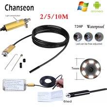 Chanseon Endoscope 7MM Lens Gold OTG USB Android Adapter HD Camera Inspection Borescope Phone Industrial Endoscopio Camera