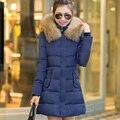 2016 новая зимняя вниз хлопка-ватник женщин средней длины большой меховой воротник зимнее пальто женщин одежда плюс размер ватные jacke