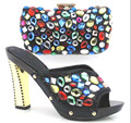 Woman Sandal Italian Matching Shoes And Bags Set Wedding Lady Heels And Handbag Set With Stones To Match Size 37-43 TT02