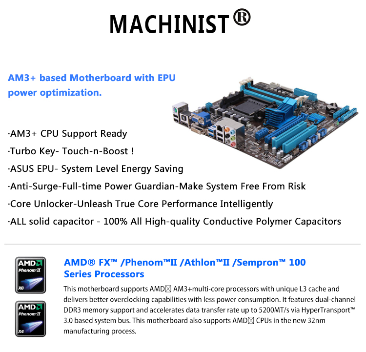 Original For ASUS M5A78L-M M5A78L-M/USB3 760G desktop motherboard MB AM3 AM3+ DDR3 32G RAM 100% fully Tested Free shipping 6