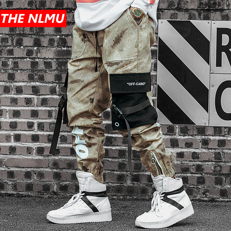 Joggers Pant Camo-Trousers Multi-Pocket Streetwear Tactical Cargo Hip-Hip Ribbon Casual