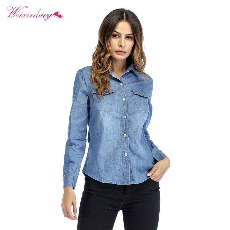 019f5008 Detail Feedback Questions about Women Solid Turn down Collar Shirts Casual  Denim with Button Slim Light Blue Shirt Women Back Pleated Blouse Female  Blouses ...