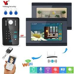 YobangSecurity RFID Password 7 Inch LCD Wifi Wireless Video Door Phone Doorbell Video Intercom APP Control 1 Camera 2 Monitor