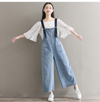 Overallls Summer Denim Jumpsuits 2018 Spring Women Casual Plus Size Overalls Wide Leg Harem Rompers Female Clothing MS67
