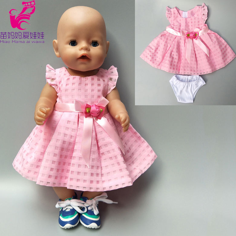 Doll clothes 43cm Zapf Baby Born Doll Pink dress clothes for 18 inch american girl doll dress zapf doll dress christmas costume dress for 18 45cm american girl doll santa dress with hat for alexander doll dress