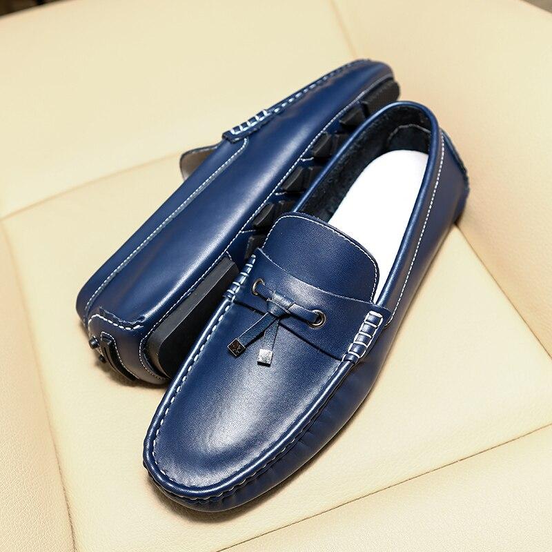 Appartements Mocassins 2018 Respirant orange Grande Conduite Doux marron Véritable bleu En Chaussures Gommino Casual Homme Noir Hommes Taille Cuir Sneaker Pantoufles XgX4q