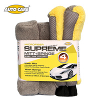 4PCS Set Car Cleaning Microfiber Mitt Sponge Car Washing Waterproof Glove Super Thick Foam Sponge Car