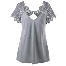 3a5939c14c7a8 feitong Womens V-Neck plus size 2018 Lace Short Sleeve Trim Cutwork blouses  Tops