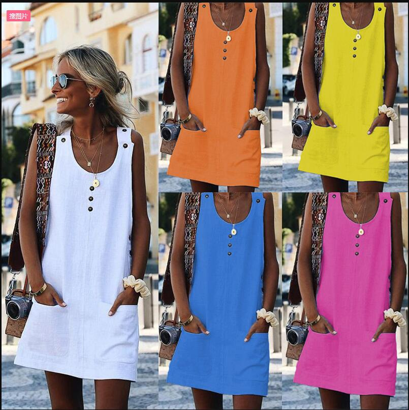 EBay speed sell tong color hot hot style summer fashion joker pocket buttons dress(China)