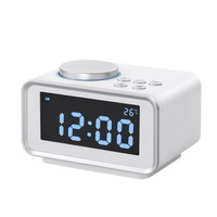 Multi function FM Radio Alarm Clock Snooze Function Indoor Thermometer Dual USB Port Charger LCD Table Clock 2017ing