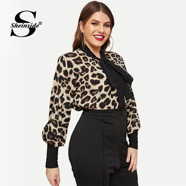 Sheinside Plus Size Leopard Print Tie Neck Blouse Women Casual Bishop Sleeve Blouses Elegant Workwear Button Tighten Cuff Tops 3