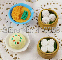 Free Shipping Promotion 60 Pcs Chinese Steamd Bread  Eraser New Kawayi Dumplings  Eraser  For   Stationery Collection Wholesale