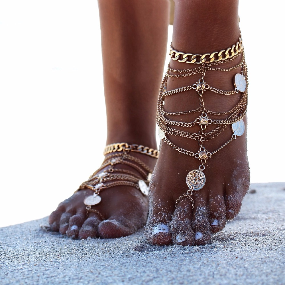 2017 New Fashion Summer Sexy Silver Color Tassel Anklet for women Coin Pendant Chain Ankle Bracelet Foot Jewelry Barefoot Sandal
