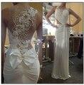 Sexy Scoop escote una línea blanca Prom vestidos 2015 vestido de formatura longo opacidad volver perla del partido de tarde vestidos