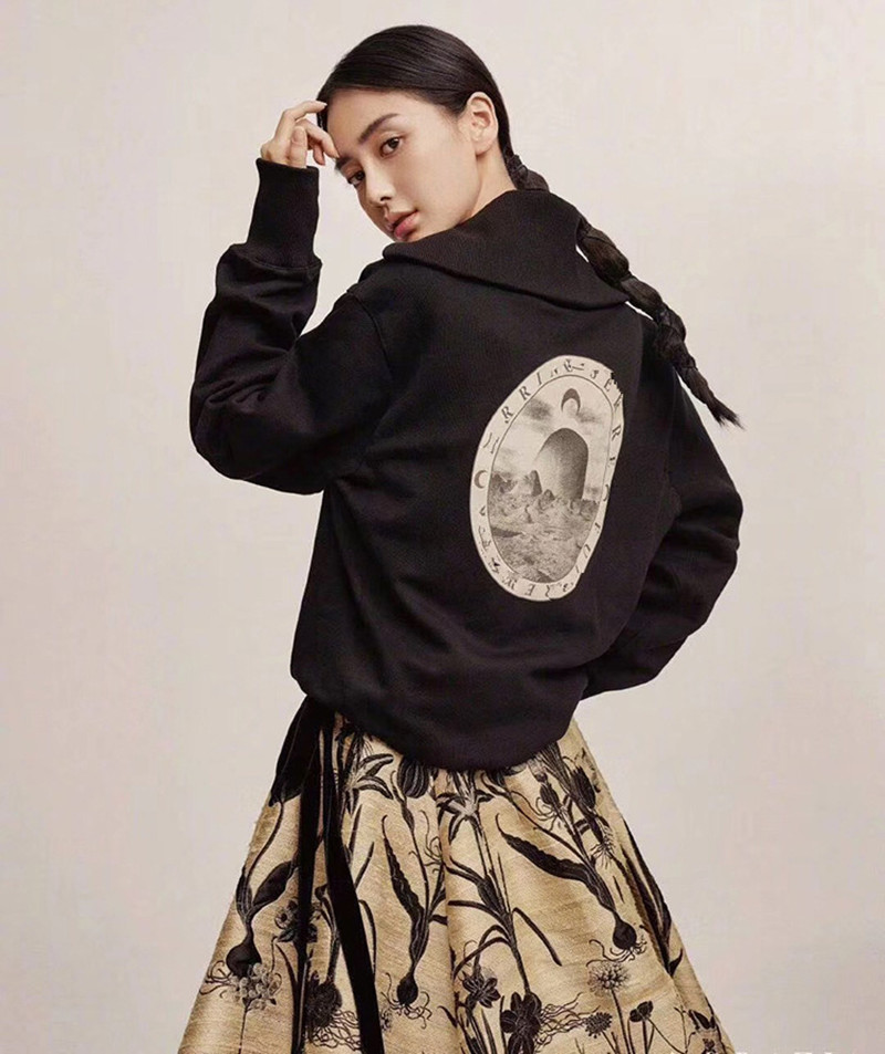 Women Black Coat Moon Print Pattern Plus Velvet Large Lapel Zipper Loose Turtleneck Top
