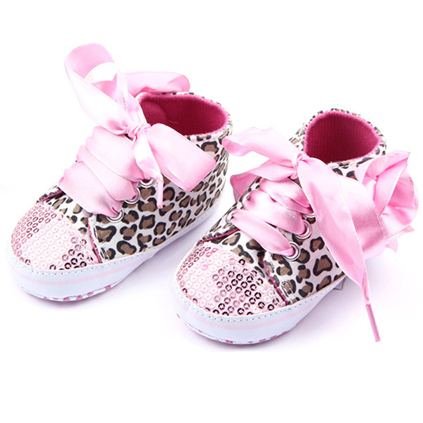Infant Kid Girl Leopard Bling Shoelace Shoes Baby Toddler Soft Sole Sneaker Crib Shoes