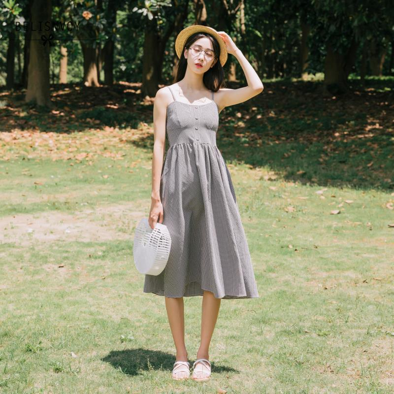 Mori Girl Sweet Summer Women Dresses Elegant Plaid Sleeveless Spaghetti Strap Mujer Vestidos Vintage Cotton Casual Beach Dress