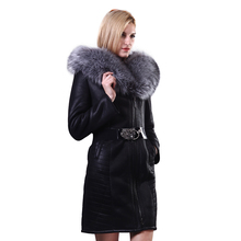 Factory Direct Supplier Collar Fox Fur Faux Women Coat long Winter Fashion plush Slim Hooded Thickened Suede plus size 2017 New