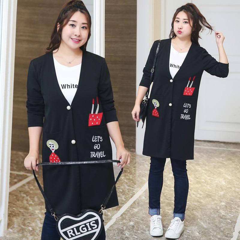Plus Size XL-4XL Women Cardigans Korean Style Casual Rome Cloth V-Neck Full Sleeve Long Black Spring Hot Selling Lady Coat