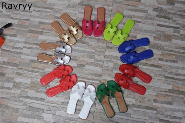 9612c2eb7 Woman slides summer silver gold green blue red sandals fashion slipper flats  heel outside party casual shoes female beach shoes