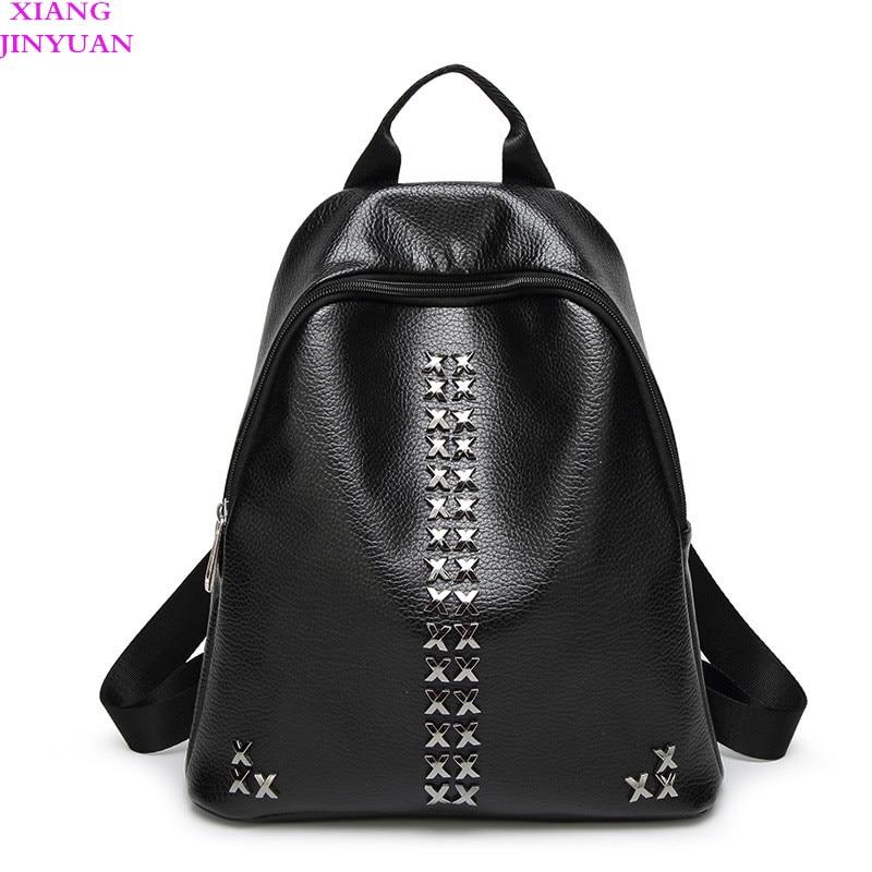 Women 2017 Fall Winter Mochilas Femininas Kpop PU Leater School Bags  Vintage Steampunk Ladies Shouder Bag Fashion Black Swisswin b3cf1aa402a7d