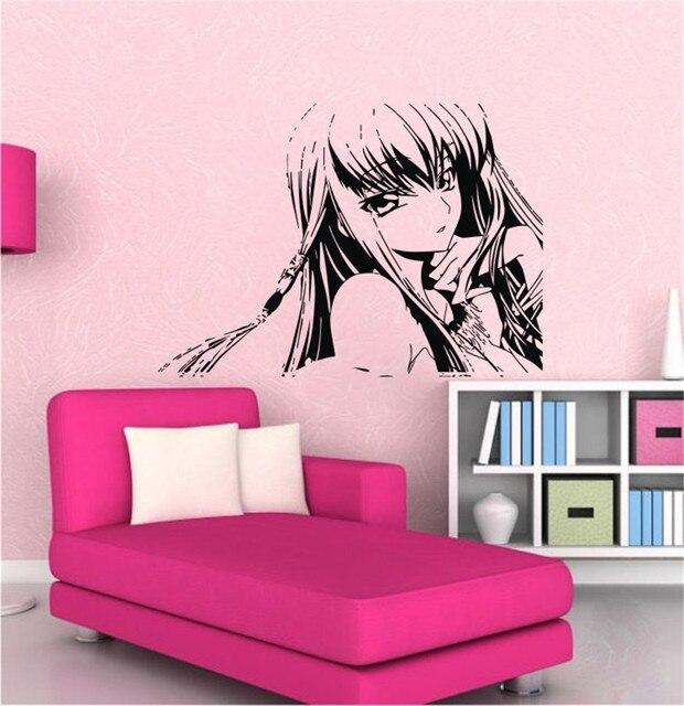 Hot Sale 2015 Japanese Cartoon Girls Teen Wall Decor Art Vinyl Removable  Black Graphic Steam Wall Art Decals