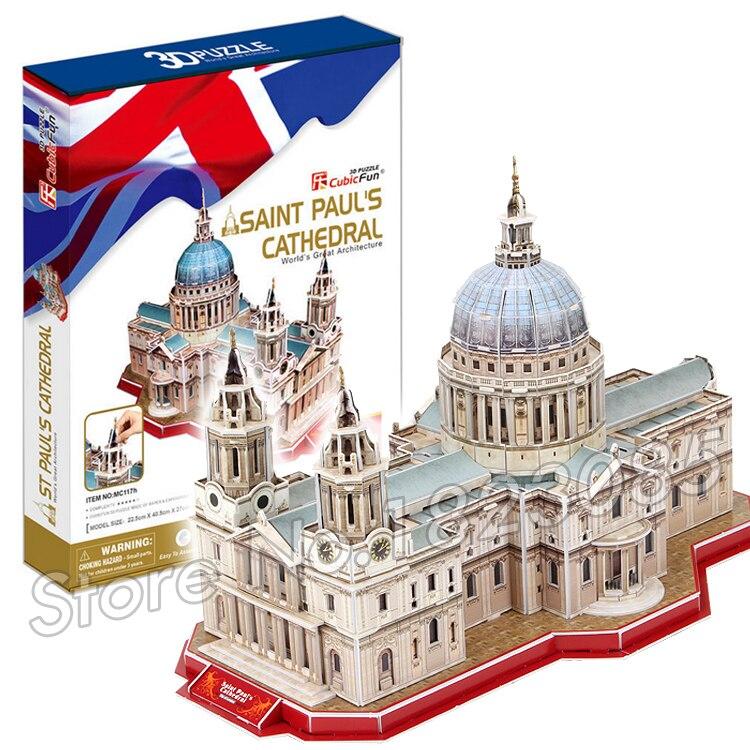 107PCS Saint Pual s Cathedral font b New b font 3D Puzzle DIY Jigsaw Assembly Model