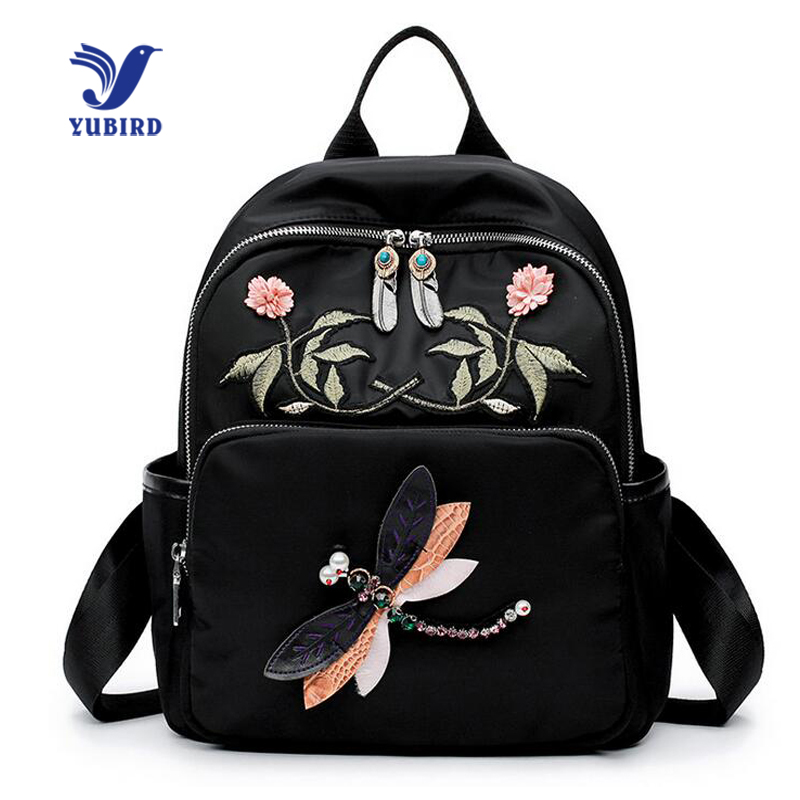YUBIRD Brand Preppy Style Women Backpack Embroidery Flower Printing Backpack for Teenage Girls School Bag Cloth