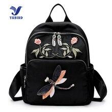 Yubird бренд элегантный дизайн Для женщин рюкзак Вышивка цветок печати рюкзак для подростков Обувь для девочек школьная сумка ткань путешествия рюкзак