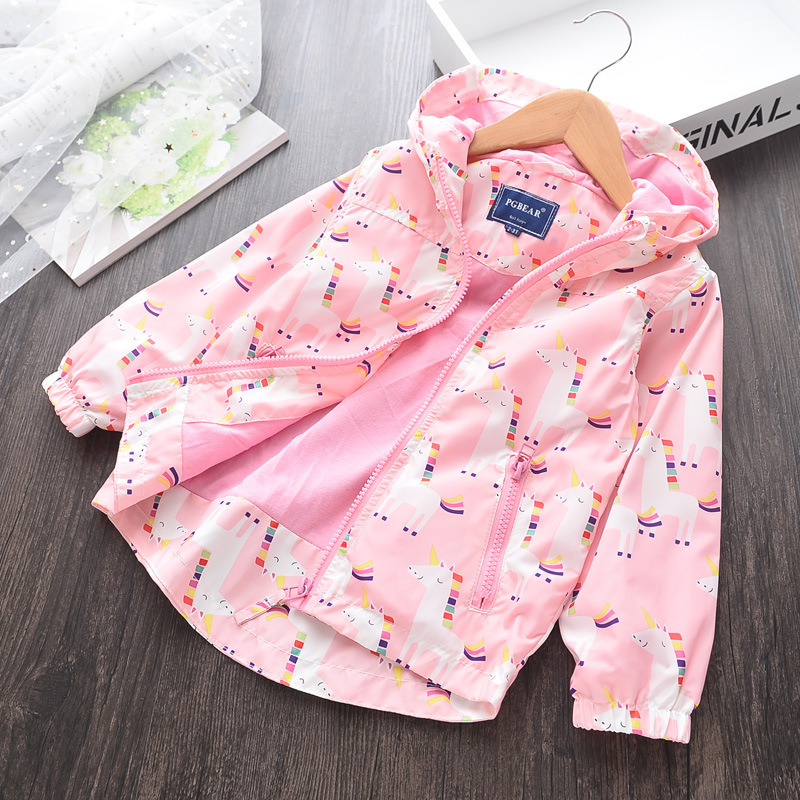 Lhg51 Girls Spring Unicorn Hoodies Coats In Jackets
