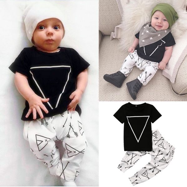 2Pcs Sets Newborn Baby Boy Girl Clothes Short Sleeve Tops T-Shirt+Pants Leggings Kids Baby Casual Cotton Summer Outfits Suits