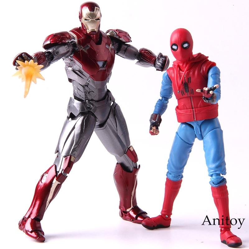 Costume maison Marvel Spiderman Ver. Et Fer homme MK47 PVC figurine araignée homme retour SHF Figuarts modèle de collection jouet