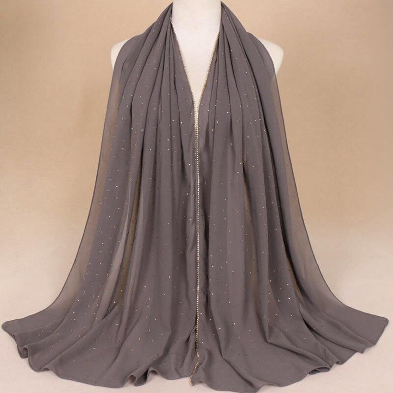 Chiffon Crystal Glitter   Scarves   Hijab Headband Fashion   Scarf     Wraps   Muslim Shawls Autumn Long Soft   Scarves   Dropshipping