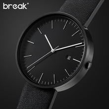 BREAK 2016 men unisex stainless steel genuine leather strap minimalist fashion casual business dress quartz watches for women