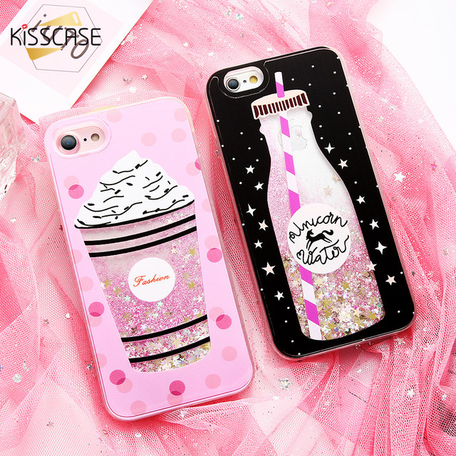 on sale bd1fa 823e7 US $3.99 20% OFF|KISSCASE Girly Phone Case For iPhone 7 8 6 6s Plus Cases  Cover For iPhone X 10 ten Luxury Silicon Pink Black Cute Glitter Coque-in  ...