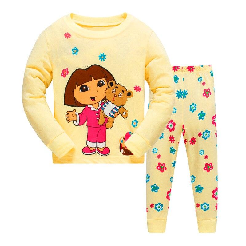 Crianças conjunto de pijama criança neve branca primavera bebê menina pijamas minions dos desenhos animados pijamas para crianças dora outono roupas do miúdo elsa