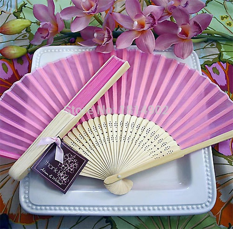 Whole 100 Pcs Lot Silk Hand Fan Wedding Favor Supplies Gifts Idea Prize Elegant In Party Favors From Home Garden On