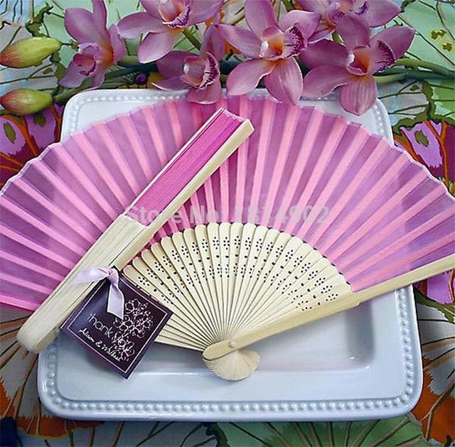 Wholesale 100 Pcs Lot Silk Hand Fan Wedding Favor Supplies