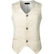 398e446b9 Chaleco para hombre de un solo pecho Steampunk traje chaleco gótico  victoriano brocado vestido chaleco Medieval