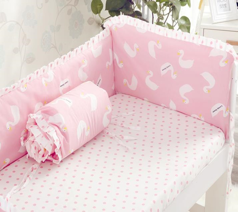 4 Pcs/Sets Baby Bedding Sets Soft Washable Bed Bumpers Cotton Print Lace Newborn Crib Baby Bumper Bed Around Washable Bedding