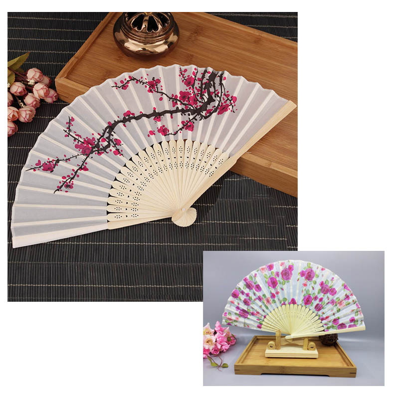 Summer Supplies Bamboo Folding Hand Fan White Polyester Fans Women Girl Wedding Christmas Party Dancing Fan Delicate Elegant