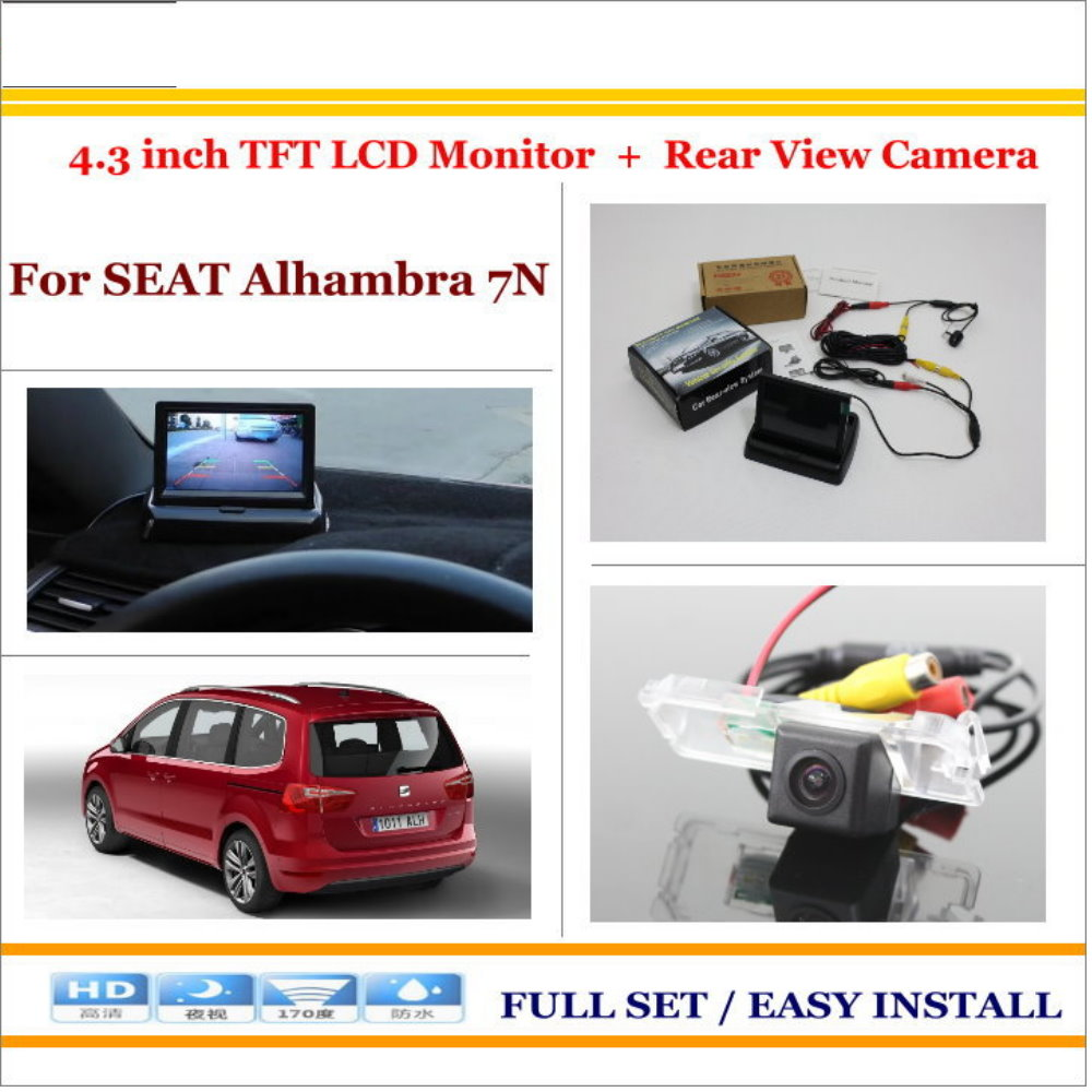 Car Reverse Backup Rear Camera + 4.3 TFT LCD Screen Monitor = 2 in 1 Rearview Parking System - For SEAT Alhambra 7N