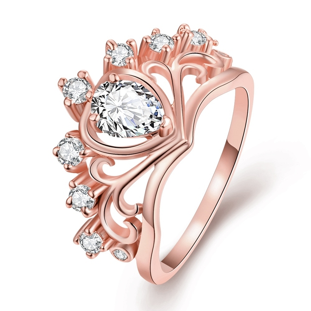 charms crown wedding ring womens rose gold engagement rings with stones fashion jewellery china anel feminino - Crown Wedding Ring