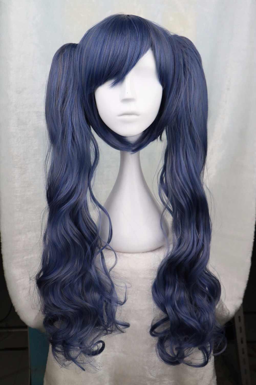Qqxcaiw longo ondulado cosplay preto mordomo misturado cinza azul cinza 70 cm perucas de cabelo sintético