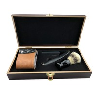 3 In 1 High grade Straight Razor With Wooden Box Set Retro Men's Shaver With Straight Razor Leather Strop Shaving Brush