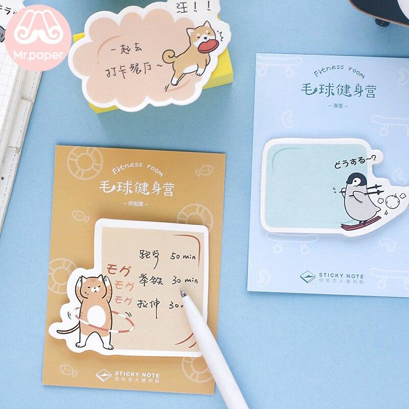 Mr Paper 30pcs/lot 4 Designs Kawaii Cartoon Sports Animal Creative Memo Pad Sticky Notes Notepad Diary Self-Stick Notes Memo Pad