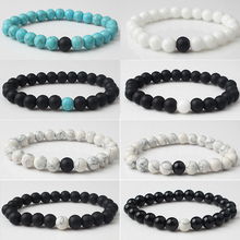 8mm The white+Black calaite beads couple bracelet is specially designed for fashionable men and women a gift lovers