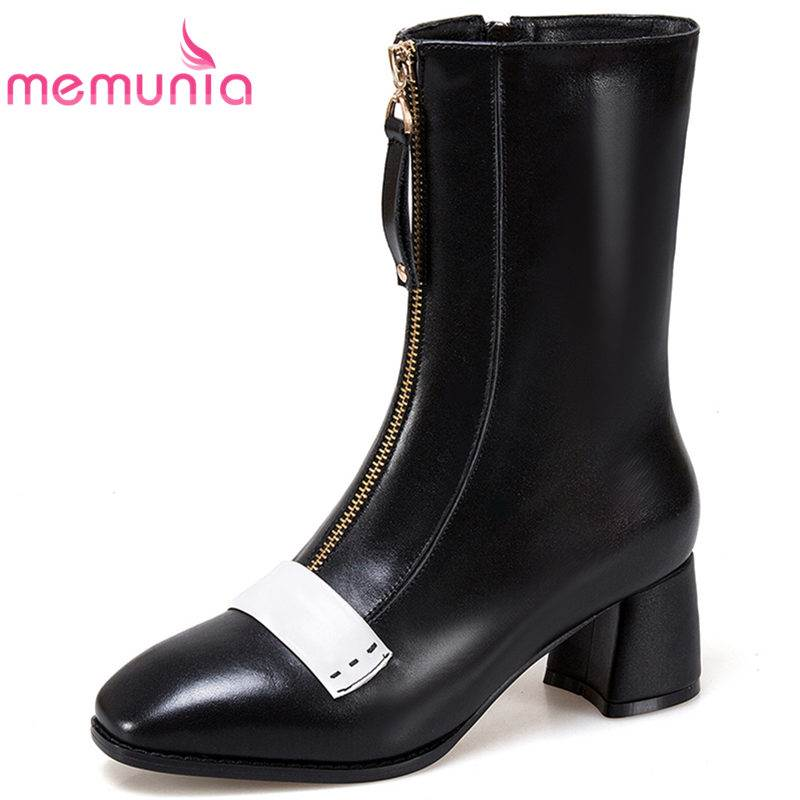 MEMUNIA HOT SALE 2018 fashion zipper genuine leather boots square toe ankle boots for women thick high heels autumn female bootsMEMUNIA HOT SALE 2018 fashion zipper genuine leather boots square toe ankle boots for women thick high heels autumn female boots