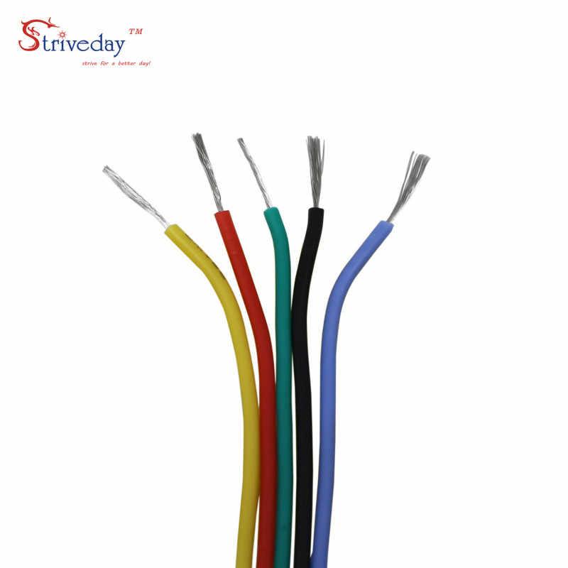 1 mètres/3.28ft 30AWG Flexible fil de caoutchouc de Silicone étamé ligne de cuivre bricolage avec 10 couleurs à choisir